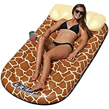 MRT SUPPLY Wild Things Inflatable Giraffe Print Pool Float Lounger Mat With Ebook