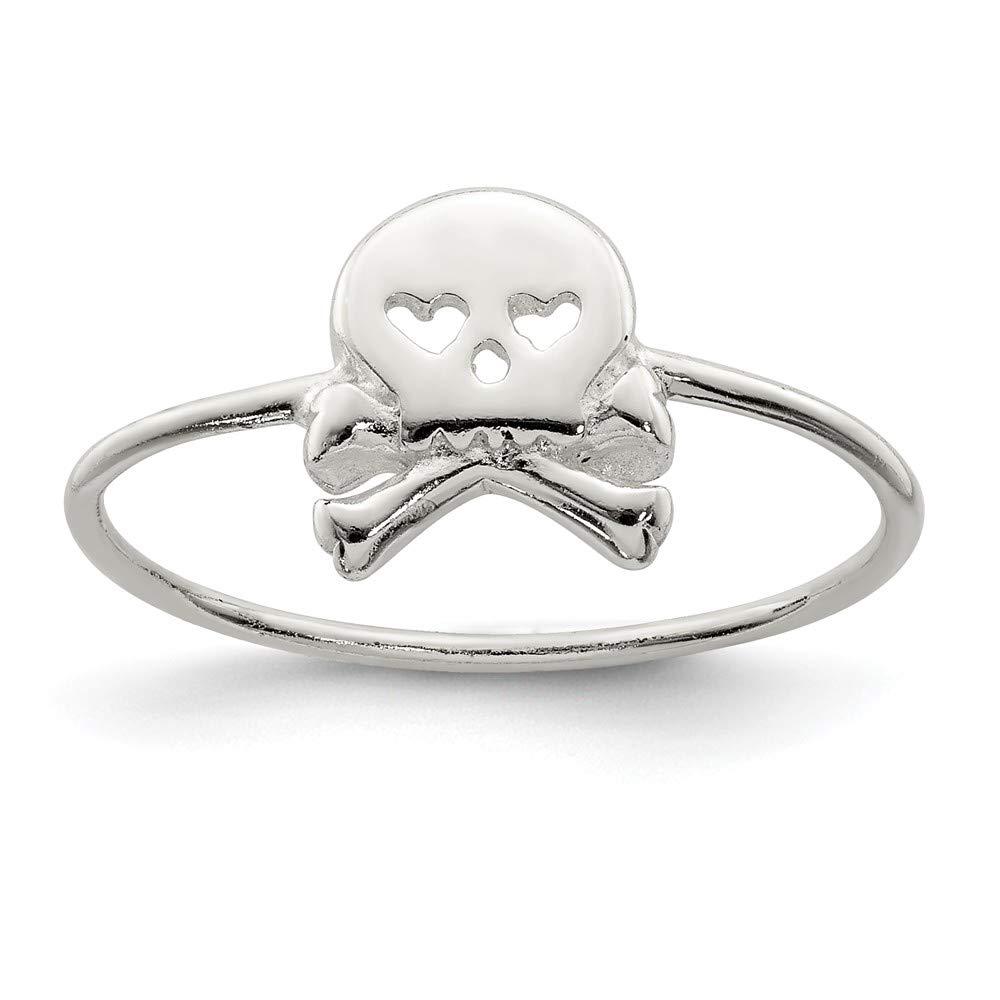 Sterling Silver Themed Ring Solid Skull Crossbones Ring