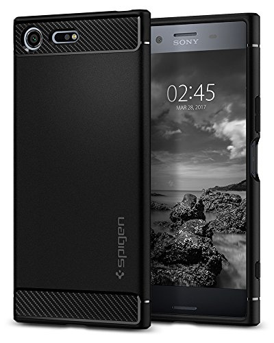 Spigen Rugged Armor Sony Xperia XZ Premium Case with Resilient Shock Absorption and Carbon Fiber Design for Sony Xperia XZ Premium (2017) - Black