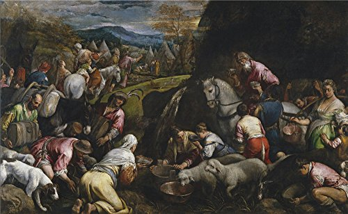 Oil Painting 'Bassano Jacopo Israelites Drinking The Miraculous Water 1566 68' 30 x 49 inch / 76 x 124 cm , on High Definition HD canvas prints, gifts for Home Theater, Kids Room And Nursery decor