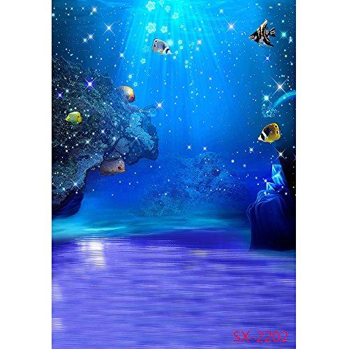 PHSFUBEL Wedding Photography Under Sea Backdrop 150x200cm Vinyl Beach Photos Summer Pictures Water Background Under Sea]()