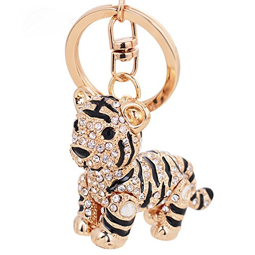 Aibearty Cute Tiger Shape Keychain Crystal Fashionable Car Accessories Gift