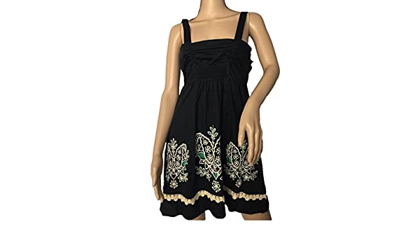 Anthropologie Floreat Black Embroidered Floral Dress Sz 6 at Amazon Womens Clothing store:
