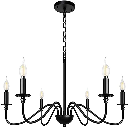 Siljoy 6-Light Chandeliers Black Iron Farmhouse Chandelier Classic Candle Ceiling Pendant Hanging Light Fixture