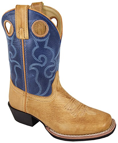 Smoky Mountain Childrens Clint Leather Embroidered Pull Holes Square Toe Bomber Tan/Blue Western Cowboy - Cowboy Kids Boots Boys