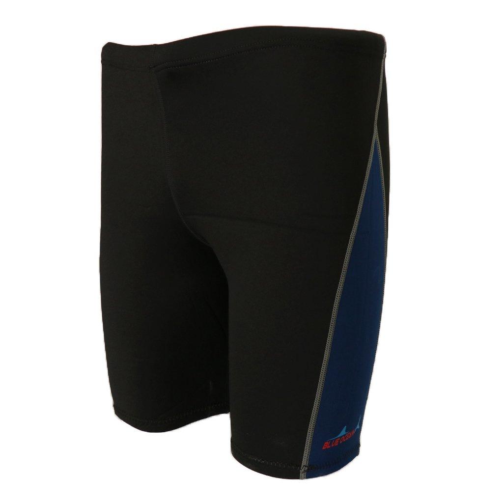 MonkeyJack 1.8mm Neoprene Men's Wetsuits Shorts Winter Warm Swimwear Trunks Diving Snorkeling Swimming Pants - Dark Blue, XL by MonkeyJack