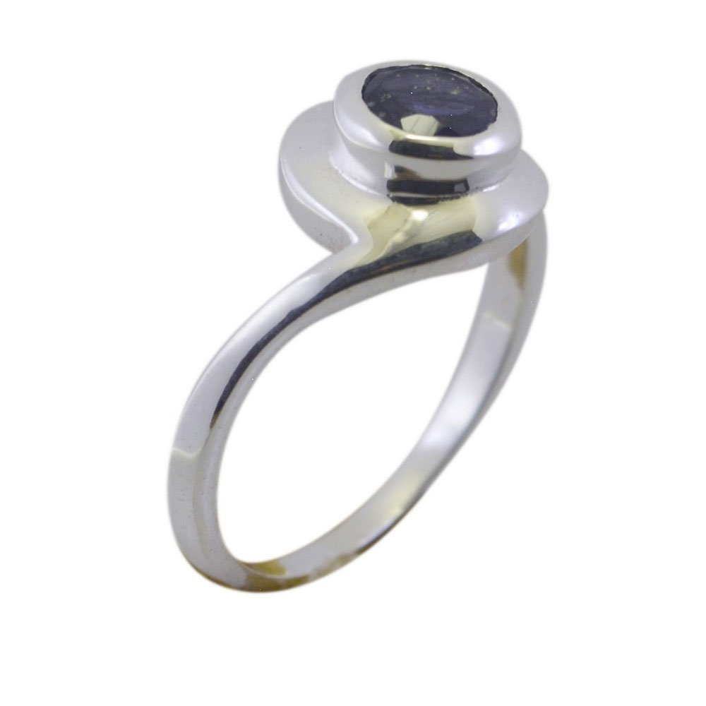 Real Round Iolite Ring Blue Sterling Silver Bezel Style Handmade Antique Jewelry Size 5,6,7,8,9,10,11,12