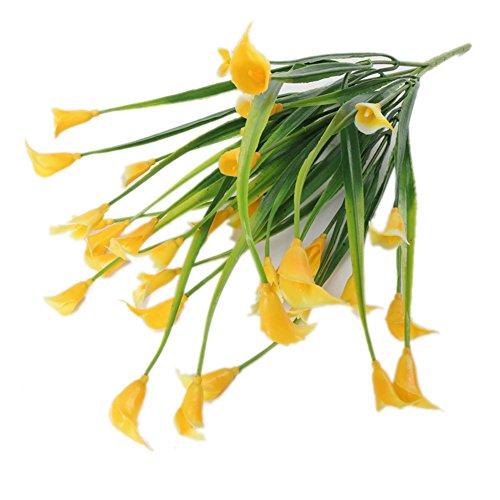 zbtrade Plastic Artificial Calla Lily Flower for Home Garden Office Party Wedding Decor 1 Bouquet 5 Branches Yellow