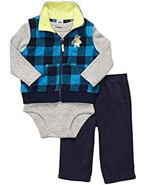 Carter's Little Boys' 3 Piece Vest Set- Blue Plaid Penguin (Newborn)