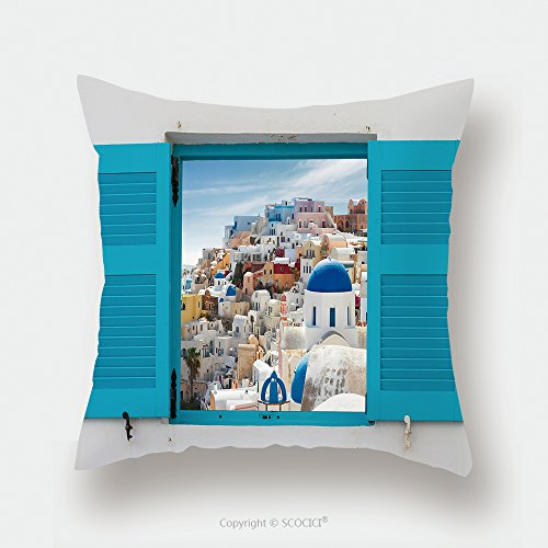 Custom Satin Pillowcase Protector Window With Cityscape Of Oia Traditional Greek Village Of Santorini Greece 430453882 Pillow Case Covers Decorative