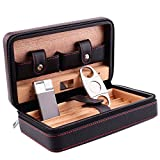 Genuine Leather Travel Cigar Humidor with Lighter Cutter Set - Ehonestbuy Spanish Cedar Wood Lined Ciger Box for Husband, Groomsmen Wedding Gift - Capacity: 4 (Black)