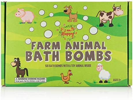 Kids Bath Bombs with Surprise Inside: Farm Animal Toys Inside, Great Bath Bombs Gift Set for Boys and Girls, Safe Ingredients that Don't Stain the Tub