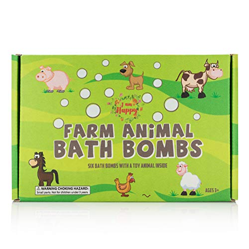 Kids Bath Bombs with Surprise Inside: Farm Animal Toys Inside, Great Gift Set for Boys and Girls, Safe Ingredients that Don't Stain the Tub