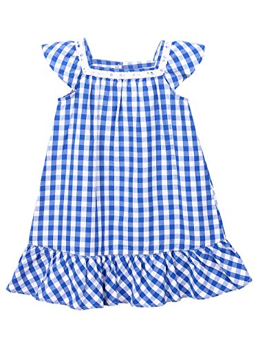 Blue Gingham Dress with Lace Insert (Blue Check, - Gingham Cap Classic
