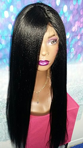 24 INCH HUMAN HAIR LACE FRONT SILK BASE TOP FULL WIG ITALIAN YAKI REMY STRAIGHT by Angel Hair Haven