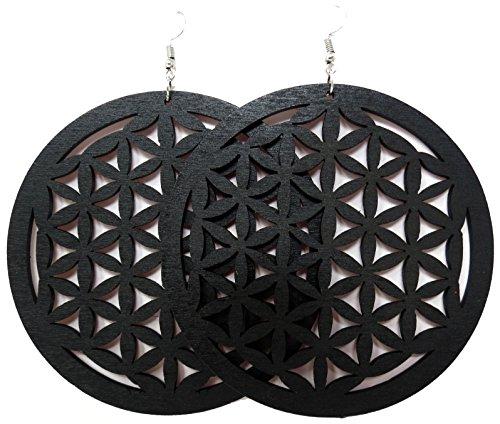 Wooden Earrings - Wood Earrings - Ethnic Earrings - Circle Earrings - Geometric Earrings (Black (Wooden Fashion Earrings)