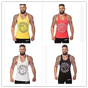 Junsi Men Fitness Y-Back Gym Tank Top Cotton algodon Sport Bodybuilding Culturismo Training I-Shaped Vest Chaleco Color Red Size L
