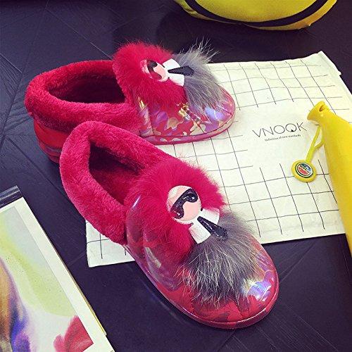 Y-Hui zapatillas de algodón cálido invierno femenina Bolsa con algodón grueso acolchado zapatos en la parte inferior de la Zapata deslizante de invierno Home Furnishing,37-38 (apto para 35-36 pies),Gu