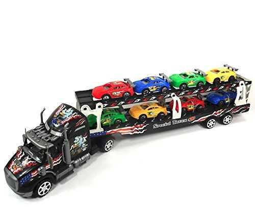 Semi Truck Toy With Trailer Towing 8 Cars, Friction Powered Toy Truck, Brand New by Envo Toys