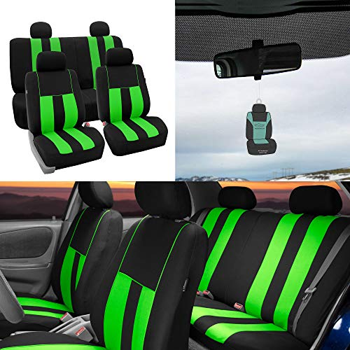 FH Group Striking Striped Seat Covers Airbag & Split Ready w. Free Air Freshener, Green/Black Color- Fit Most Car, Truck, SUV, or Van