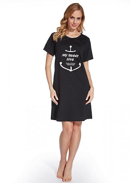Nitis Umstandsmode - Camisa de Pijama - Básico - para Mujer Dark Blue (C165)