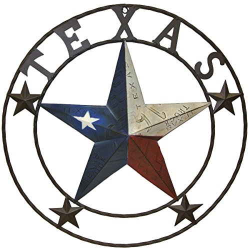(Metal Texas license plate circle with star)