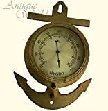 Antiques World Vintage Old Stock Heavy Brass Antique Hygrometer For Measuring Humidity With An Anchor Symbol AWUSAAH 010