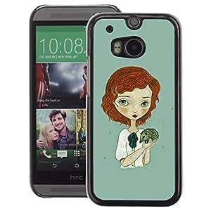 A-type Arte & diseño plástico duro Fundas Cover Cubre Hard Case Cover para HTC One M8 (Ginger Girl Green Hedgehog Art)