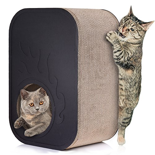 PAWABOO Cat Scratcher Lounge- Premium Corrugated Cardboard Howllowed Cat Scratching Box Square Cat House with Rounded Corners, Black