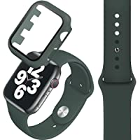 Compatible with Apple Watch band 42/44mm, Silicone Watch Strap + PC Tempered Screen Protective case Suit, Adjustable and…