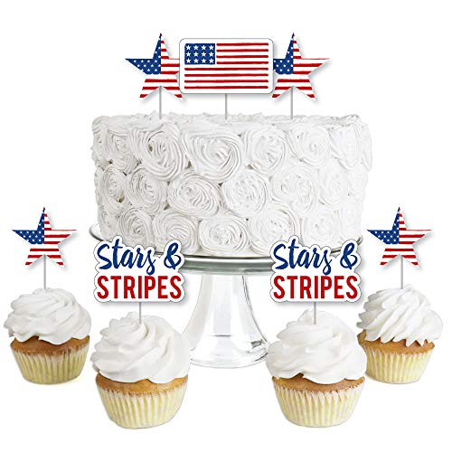 (Stars & Stripes - Dessert Cupcake Toppers - 4th of July USA Patriotic Party Clear Treat Picks - Set of 24)