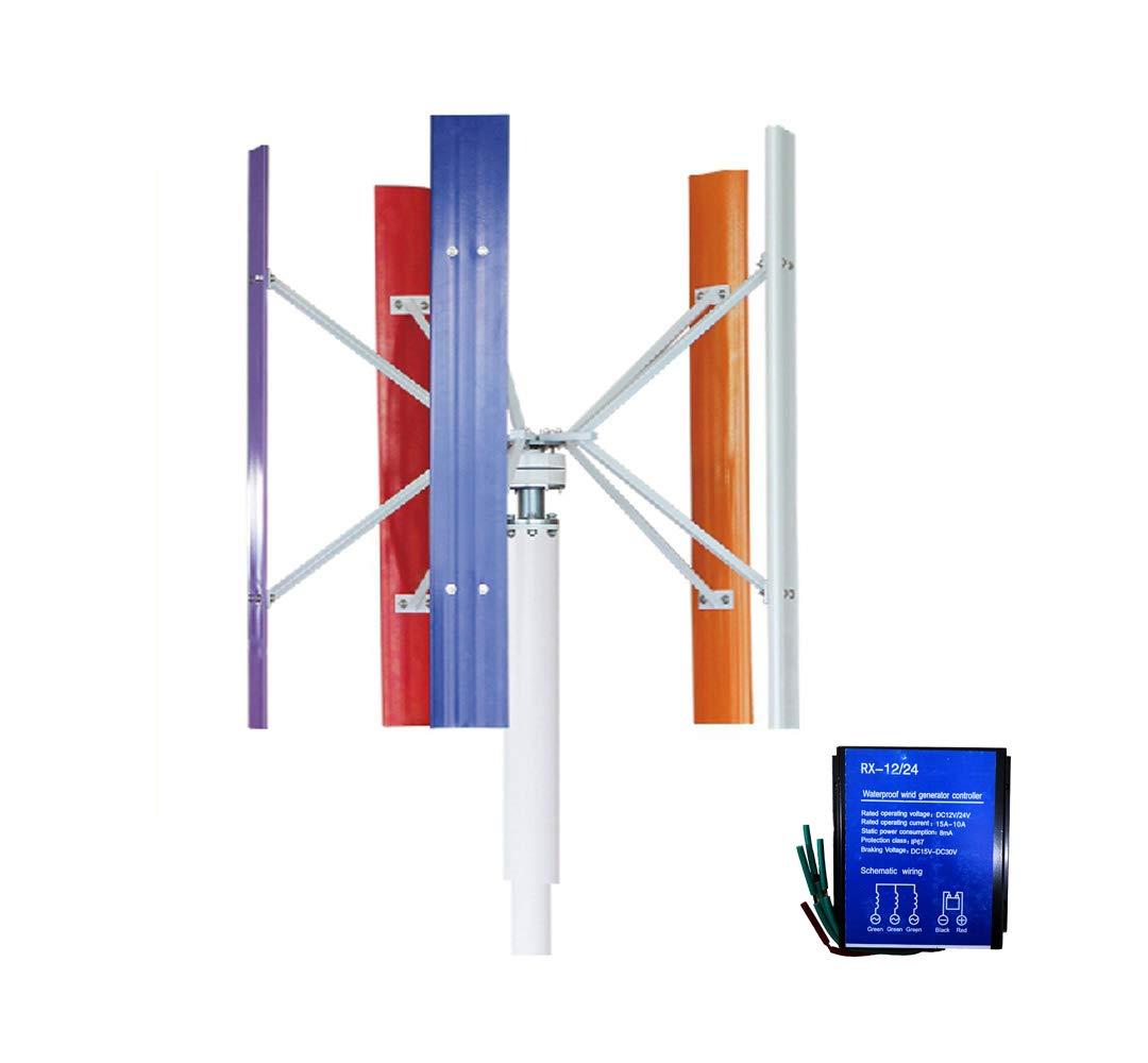 SAYA コントローラ(12/24V自動識別)付き 垂直軸風力タービン発電機300W、DC12Vの風力発電機5枚のブレード B07R9W91CX  300w12v