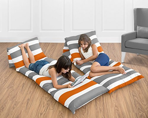 Sweet Jojo Designs Gray and Orange Stripe Collection Kids Teen Floor Pillow Case Lounger Cushion Cover (Pillows Not Included)