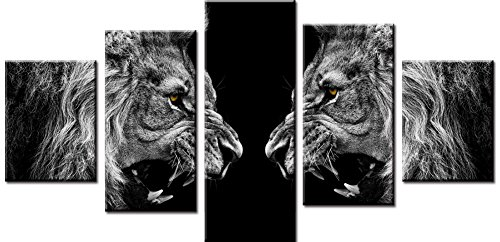 Wowdecor Canvas Prints 5 Pieces Multiple Pictures Wall Art - 5 Panels Lions Giclee Pictures Painting Printed on Canvas, Posters Wall Decor Gift - UNFRAMED (Small)