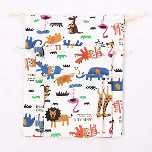 Imprim/é Animal Enfants Jouet de Poche en Toile 1./Époussetez Drawstring Tissu Portable Sac de Rangement M/êle Bonbons Sacs Cadeaux 3PCS