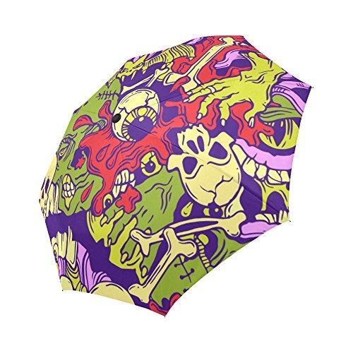 [your-fantasia Custom Halloween Pattern With Horror Elements Auto Open Close Folding Waterproof Fabric Travel Umbrella] (Custom Halloween Pattern)
