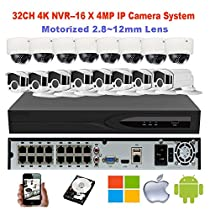 NightKing 16Channel 4MP IP Network Security System- (8) 4MP Motorized IP Bullet Camera,(8) 4MP Motorized IP Dome Camera, 2 X 4TB HDD Installed,16Pcs 100Ft Cat5e Cable,Free Mobile App View