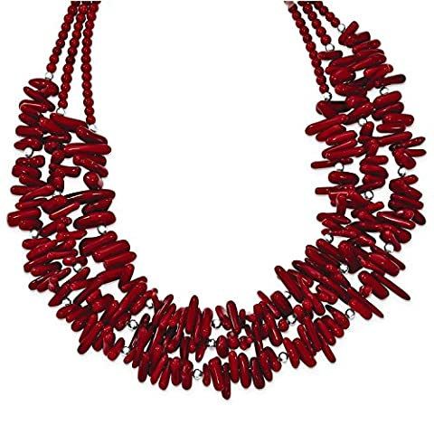 Sterling Silver Red Coral 3-Strand with 2in ext Necklace - Coral 3 Strand Necklace