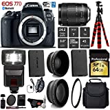 Canon EOS 77D DSLR Camera with 18-135mm is STM Lens + Flash + UV FLD CPL Filter Kit + Wide Angle & Telephoto Lens + Camera Case + Tripod + Card Reader - International Version