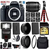 Canon EOS 77D DSLR Camera with 18-135mm is STM Lens + Flash + UV FLD CPL Filter Kit + Wide Angle & Telephoto Lens + Camera Case + Tripod + Card Reader – International Version