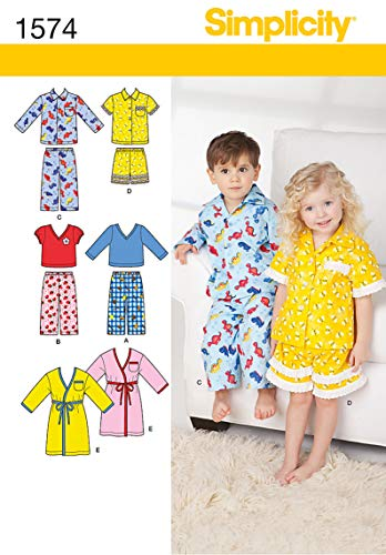 Simplicity 1574 Toddler's Pajama and Robe Sewing Patterns, Sizes 1/2-4 (Sewing Patterns For Toddler Boys)