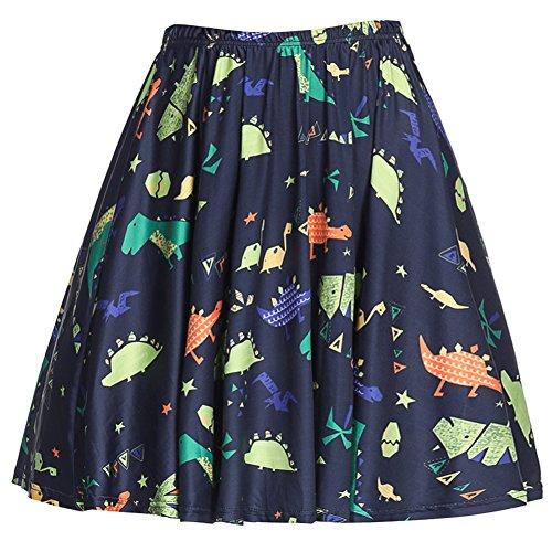(YJQ Women's Dog Print Midi Skirt Animal Print Skater Pleated Skirt Navy M)