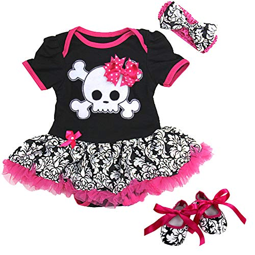 Damask Baby Girl Clothes (Ameda Baby Black Damask Skull Pirate Bodysuit Tutu Small)
