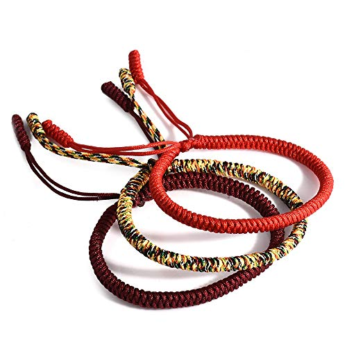 Tibetan Buddhist Handmade Lucky Knot Rope Bracelet (Set of 3 - Red, Deep Red, Multicolored) for Positive Karma