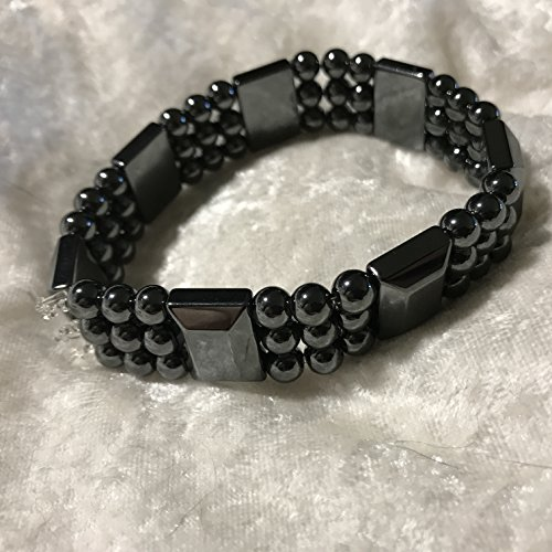 Wide Stretch Beaded Bracelet (natural magnetic hematite and gemstone wide beaded stretch bracelets)