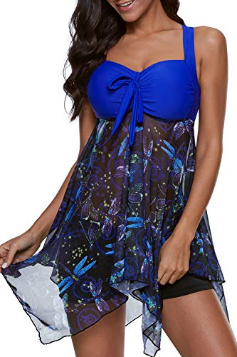 SENSERISE Womens 2 Piece Swimdress Tankini Top Set with Boy Shorts Vintage Slimming Swimsuits Swimwear(Blue Dragonfly,X-Large)