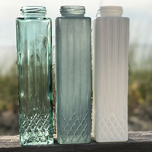 The Beach Chic Tall Centerpiece Vases, Set of 3, Rustic Aqua Marine, Pale Blue and Milk White Glass, 9 1/2 Inches, By Whole House Worlds