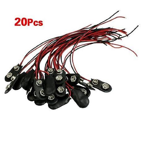 TOOGOO(R) 20 Stueck schwarz Kunstleder Gehaeuse T Typ Wired 9V ...
