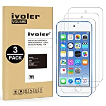 [3 Pack] iVoler [Tempered Glass] Screen Protector for iPod Touch 6G (6th Generation) / 5G (5th Generation), [0.2mm Ultra Thin 9H Hardness 2.5D Round Edge] with Lifetime Replacement Warranty