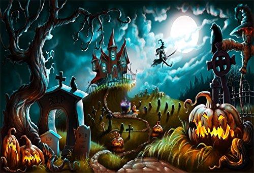 OFILA 7x5ft Vinyl Halloween Backdrop for Kids Creepy